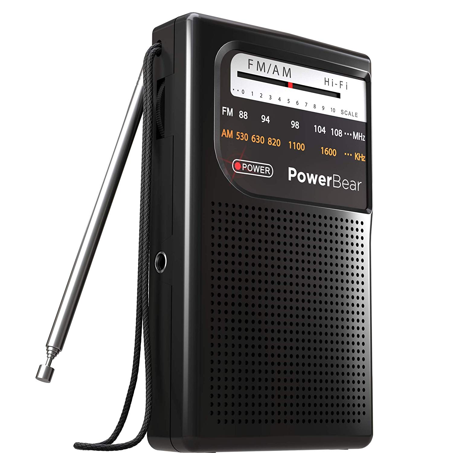 PowerBear AM FM Portable Radio | Long Range, Handheld