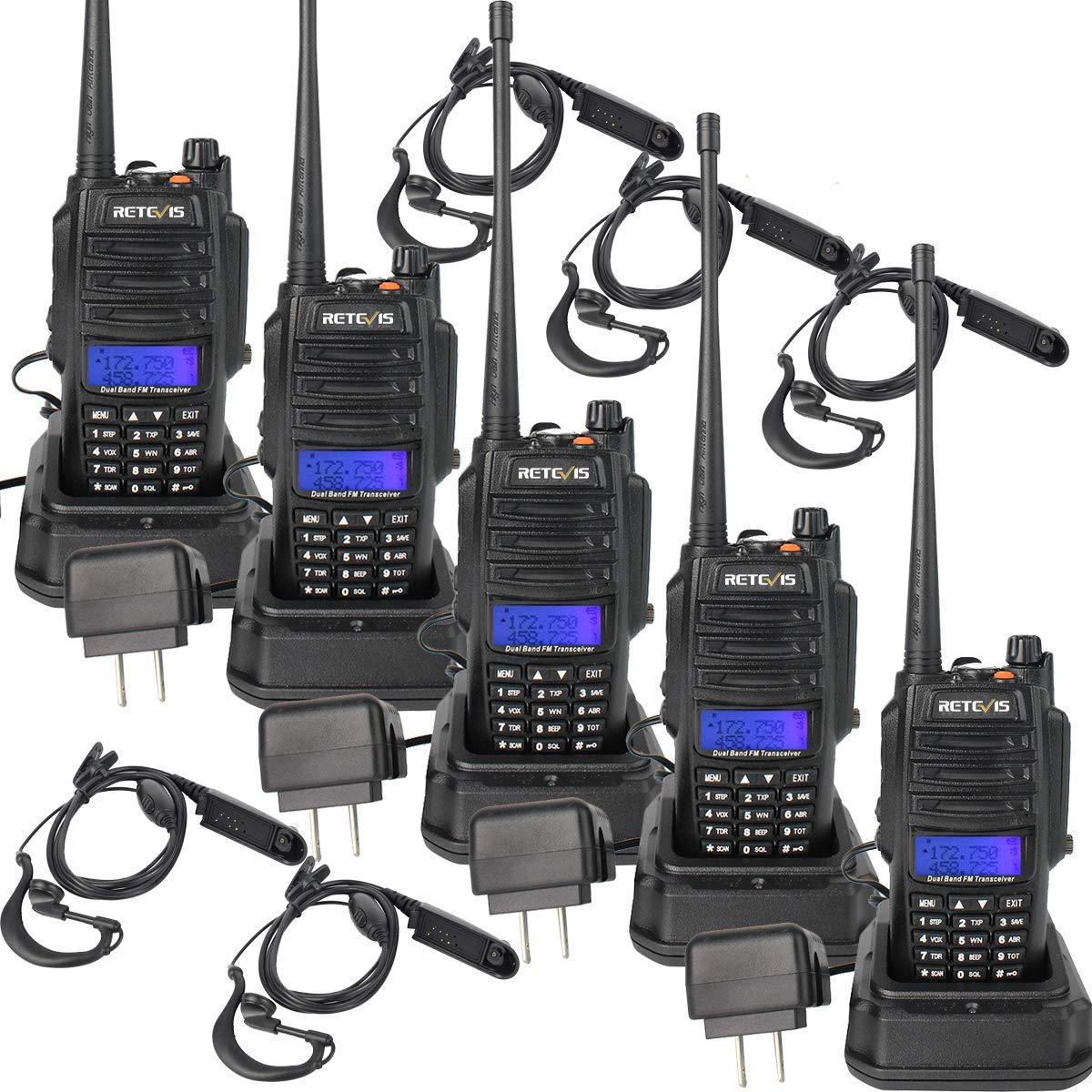 Retevis RT6 Two Way Radios Waterproof 128 CH 5W VHF UHF Dual Band